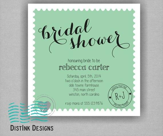 mint bridal shower theme invitations