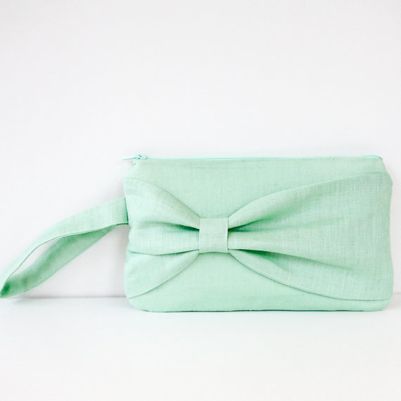 mint wedding inspiration - bow clutch purse by brighter day
