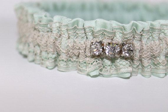 mint silk wedding garter via 5 Shabby Chic Wedding Garters at EmmalineBride.com