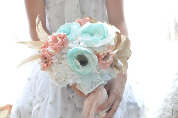 mint wedding ideas - mint flower bouquet