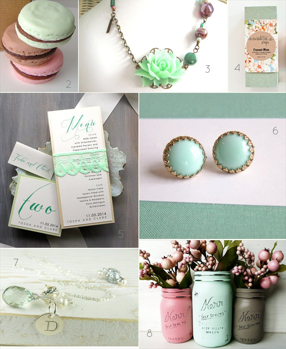 mint wedding inspiration board via EmmalineBride.com