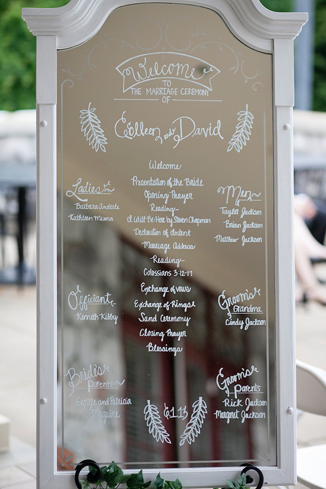 Skip a paper program and use a mirror sign instead! | https://emmalinebride.com/decor/wedding-mirror-signs/