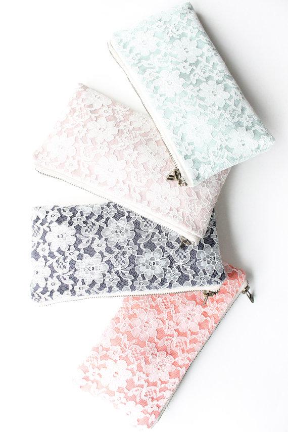 modern lace clutch purses (by allisa jacobs) via emmalinebride.com