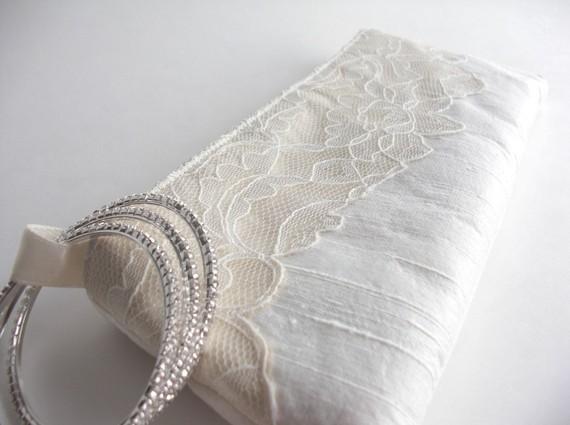 wedding wristlet - modern lacy bridal bag