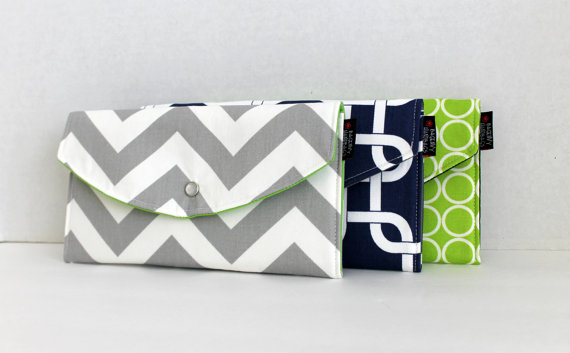 Modern Navy and Lime Mismatched Clutches - pick a purse each bridesmaid will love in a particular color with her own unique pattern or print.