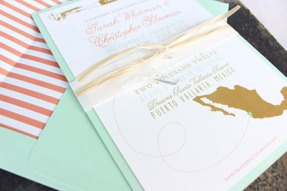 modern travel invitations - Destination Wedding Invitations