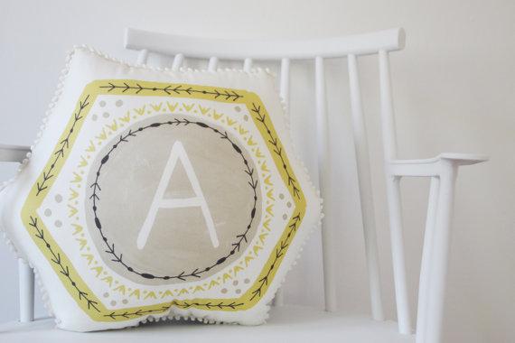 monogram geometric wedding pillow