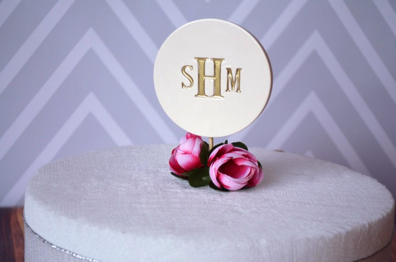 monogrammed wedding cake topper