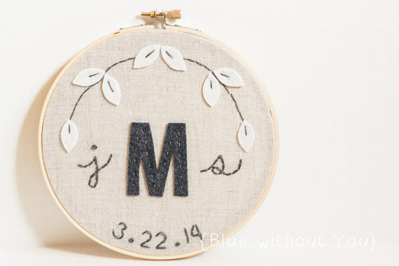 monogram wedding hoop art