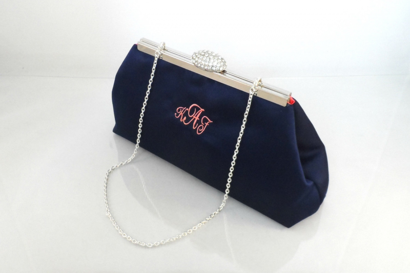monogram clutch purse via Monogram Gift Ideas Bridesmaids from EmmalineBride.com