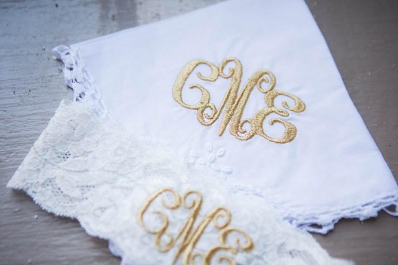 monogrammed hankie and garter set