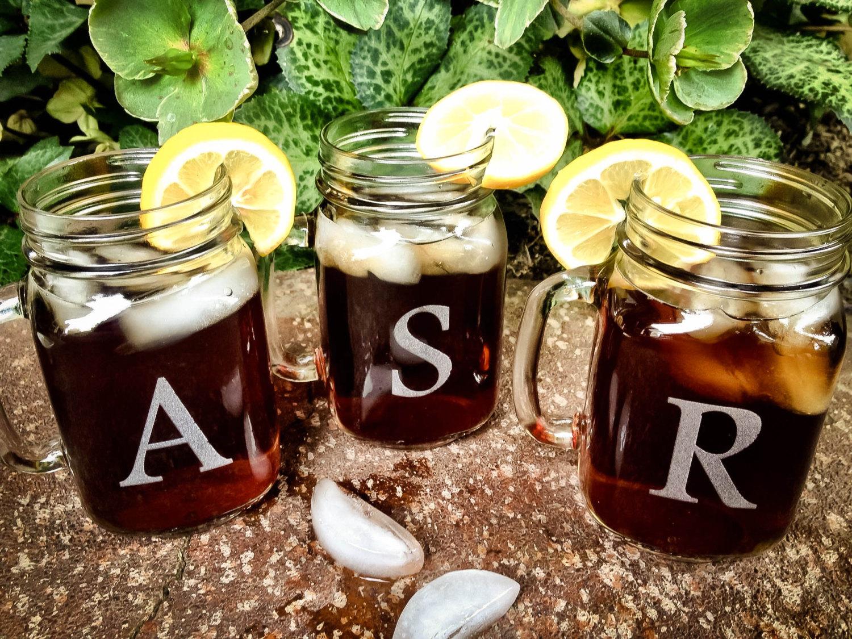 monogrammed mason jars   mason jar ideas weddings