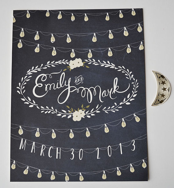 moonlight wedding welcome sign by first snow fall | signs entrance weddings | http://emmalinebride.com/decor/signs-entrance-weddings/