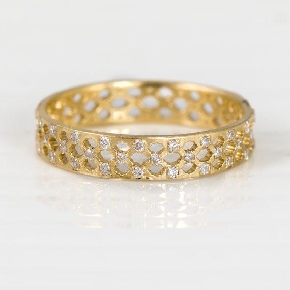 moroccan wedding band with diamonds | handmade wedding bands | http://emmalinebride.com/jewelry/handmade-wedding-bands/
