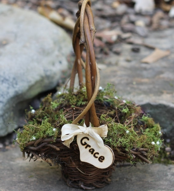 moss basket | Rustic Flower Girl Baskets