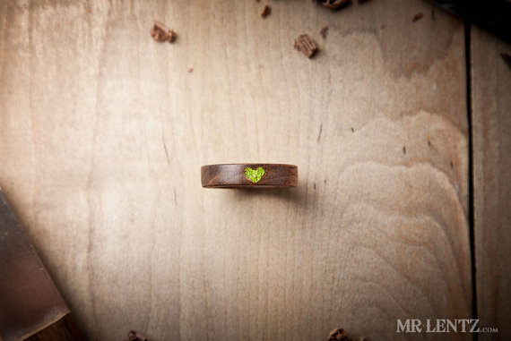 moss wedding ring heart - Wood Wedding Rings