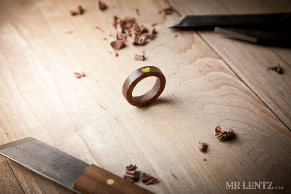 Wood Wedding Rings - moss heart