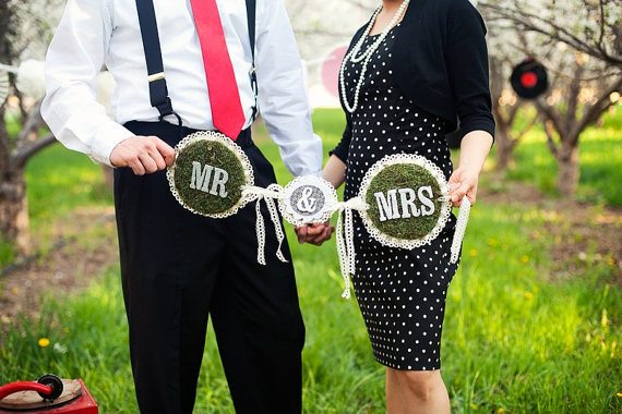 mossy mr. and mrs. wedding banner