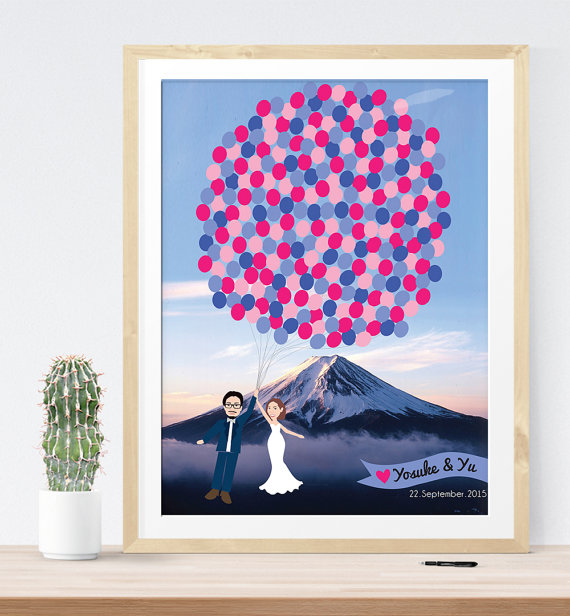 mountain inspired wedding guest book print | 21 Unique Themed Guest Book Alternatives via https://emmalinebride.com/reception/themed-guest-book-alternatives/