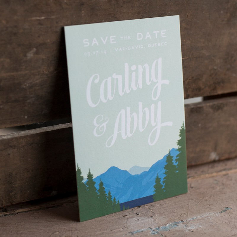 mountain save the date | http://emmalinebride.com/rustic/mountain-wedding-ideas/