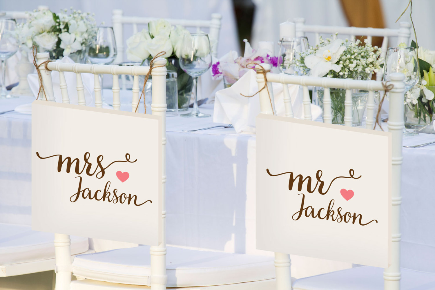 mr and mrs bride and groom chair signs personalized | via bride and groom chair signs https://emmalinebride.com/decor/bride-and-groom-chairs/