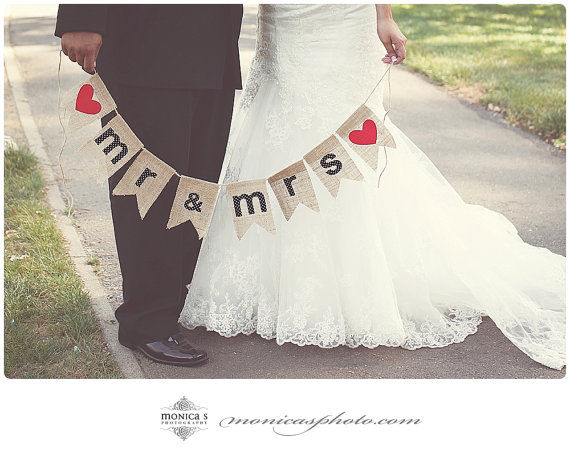 mr and mrs burlap garland