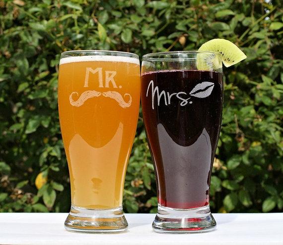mr and mrs pilsner glasses