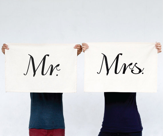 mr mrs tea towels via Top 10 Non Registry Wedding Gifts