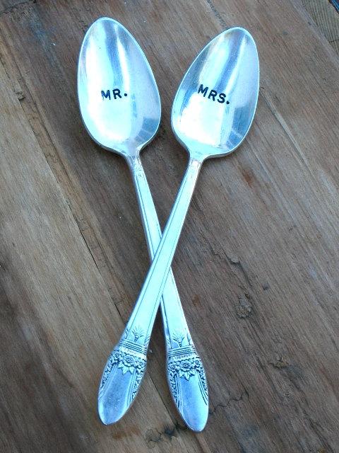 mr mrs vintage wedding silverware spoons