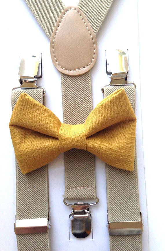 mustard yellow bow tie and khaki suspenders