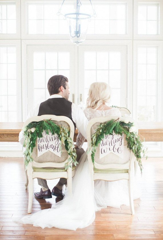 my darling husband my darling wife chair signs | via bride and groom chair signs https://emmalinebride.com/decor/bride-and-groom-chairs/