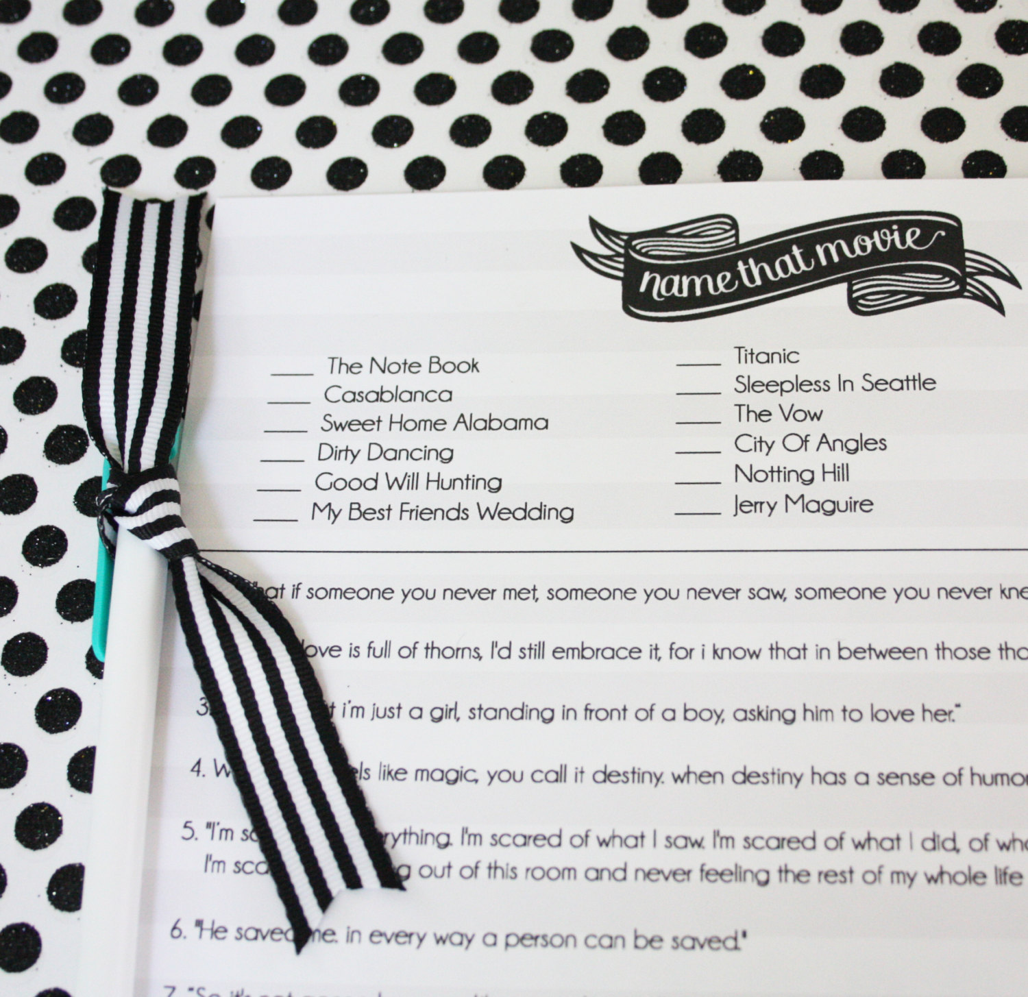 name that movie bridal shower game with quotes by print your party