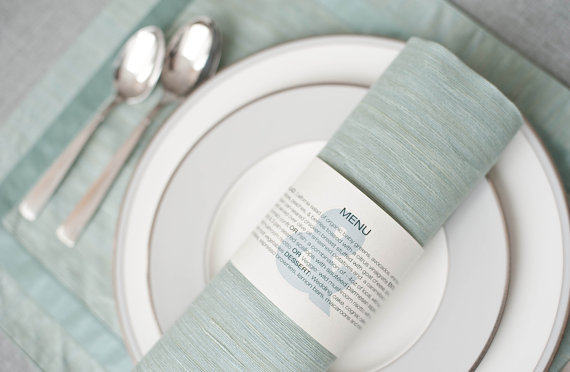 Napkin Rings for Weddings - wedding menu wrap by Lama Works