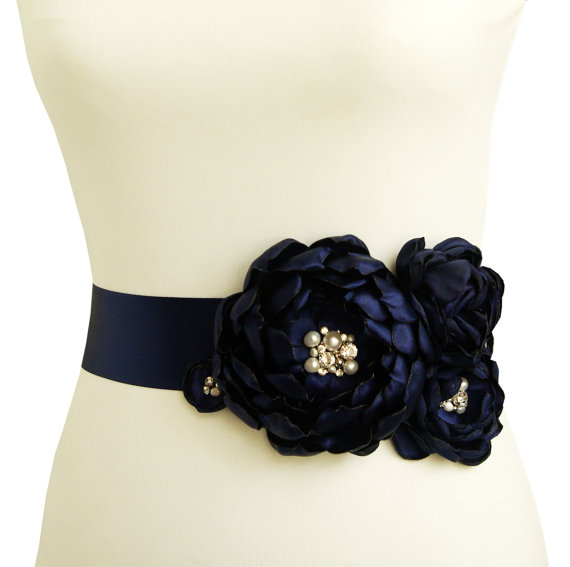 Flower Sash for Wedding Dress in Navy Blue
