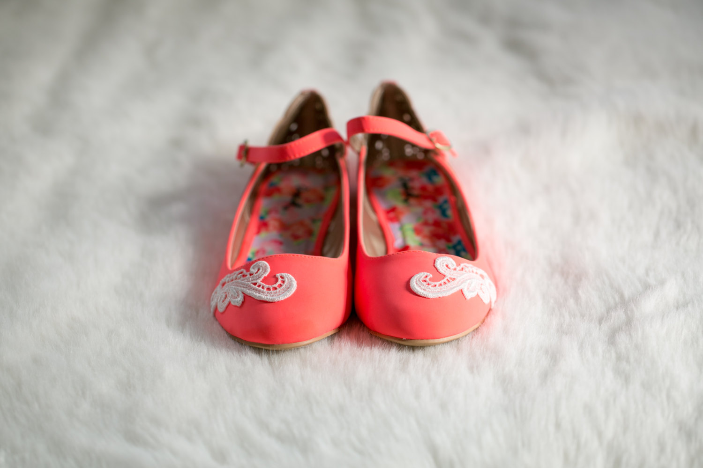 neon coral ballet flats lace