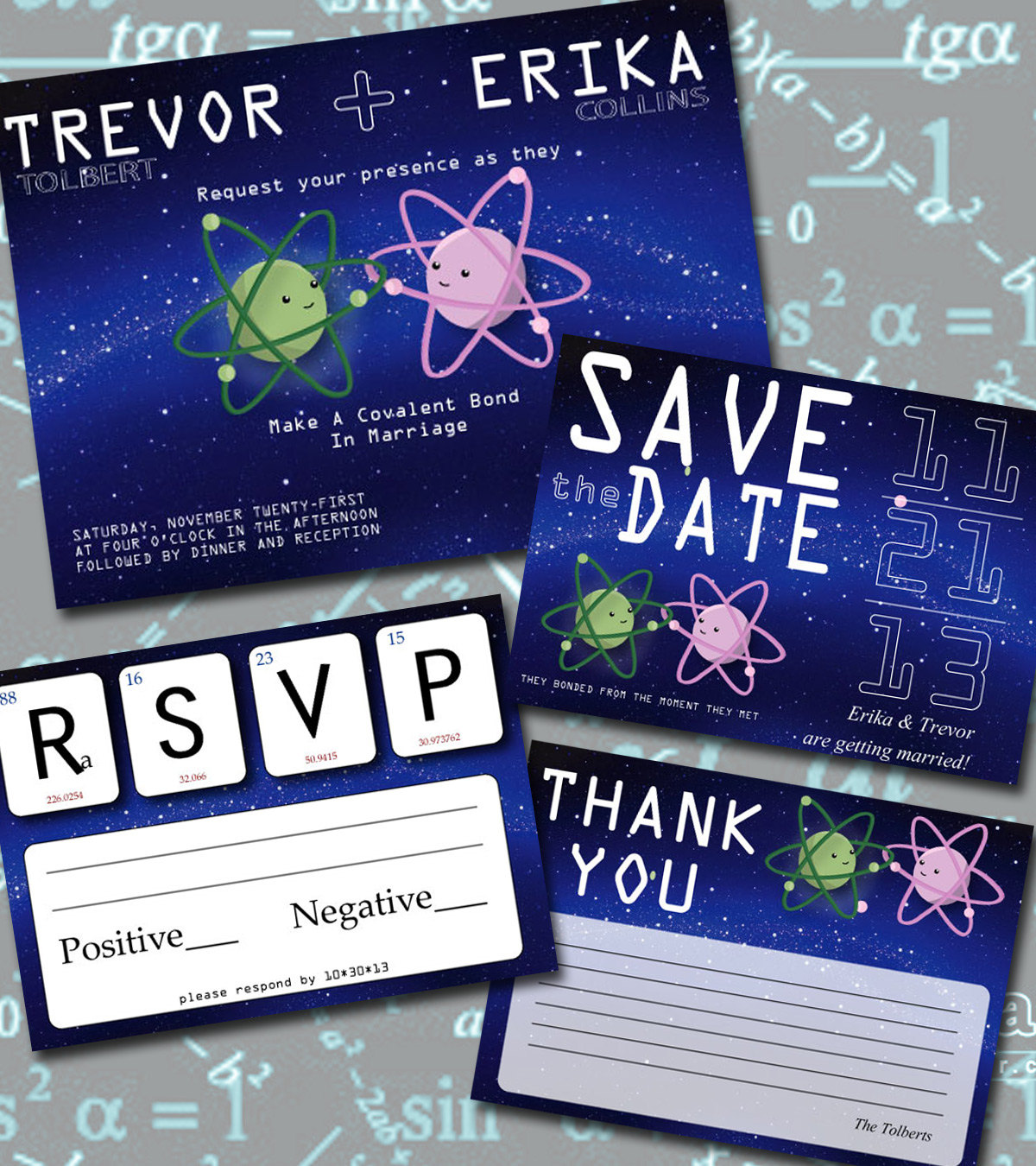 nerdy science themed wedding invitations | via emmalinebride.com | 50+ Greatest Geeky Wedding Ideas of All Time