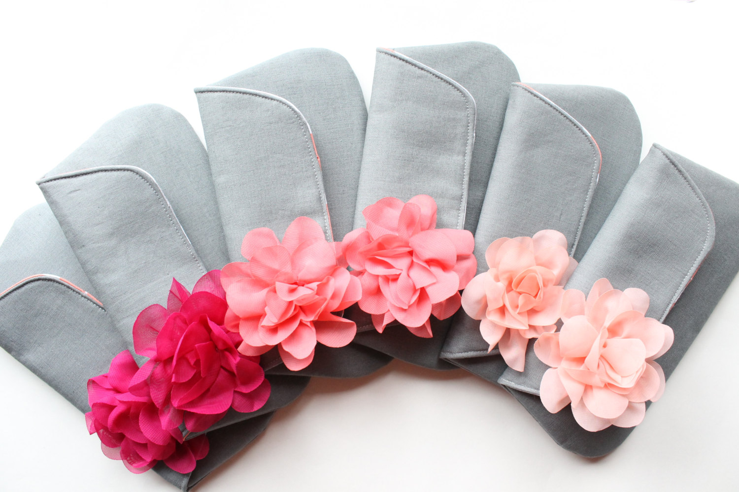 ombre pink and gray clutch purses | 7 Spring Wedding Clutches Your Girls Will Love via emmalinebride.com