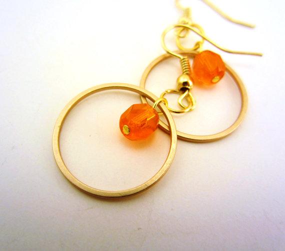 orange gold hoop earrings