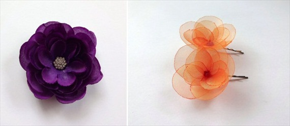 orange purple flower hair pins
