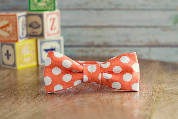 orange white polka dot bow tie