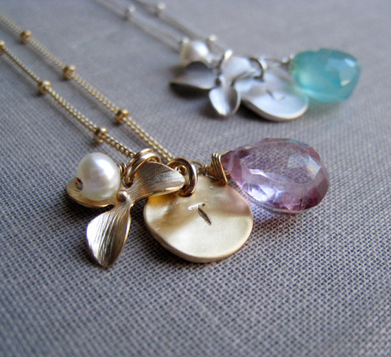 Birthstone Bridesmaid Jewelry - orchid initial
