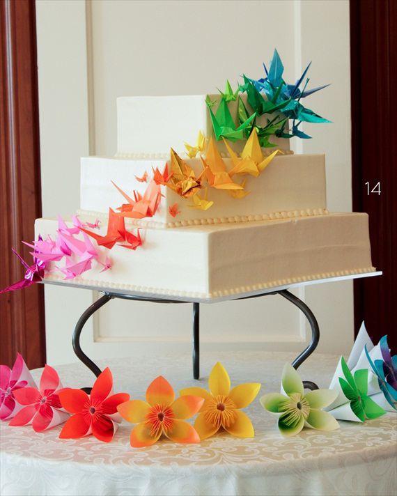origami wedding cake with cranes