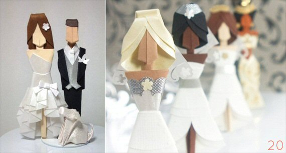 origami wedding cake topper