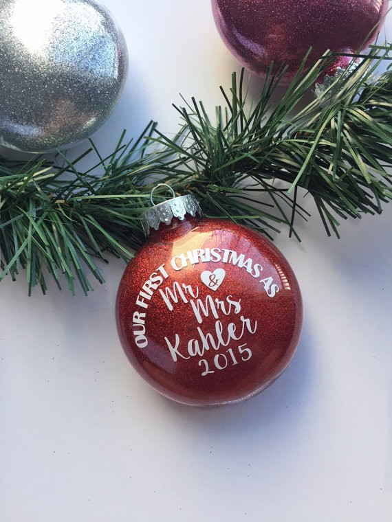 ornament first christmas married by shopprettyinrose via 50+ First Christmas Ornaments Engaged / Married