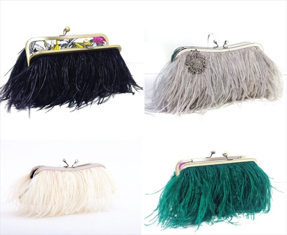 bridal clutch bags - ostrich feather clutch purse