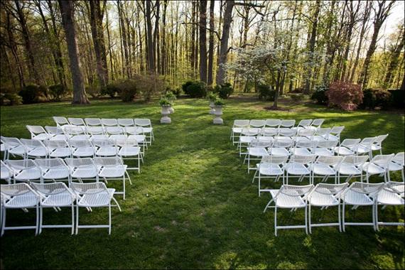 outdoor wedding setup at liriodendron - Liriodendron Mansion Wedding