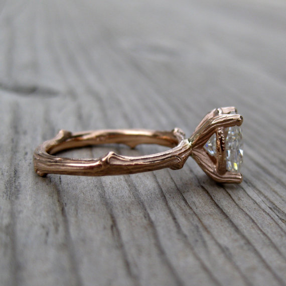 oval moissanite twig engagement ring side (via 7 Alternative Engagement Ring Ideas)