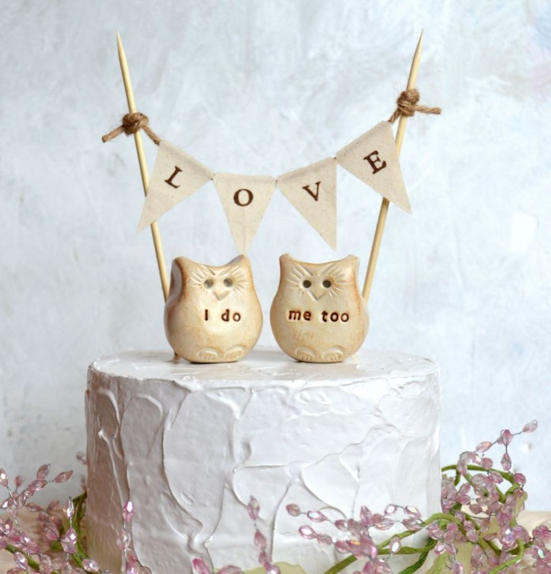 owl love cake topper