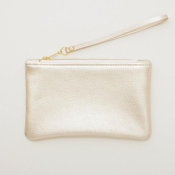 metallic wedding clutches - pale gold leather wristlet