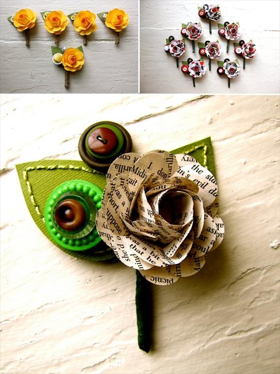 Paper Flower Boutonnieres